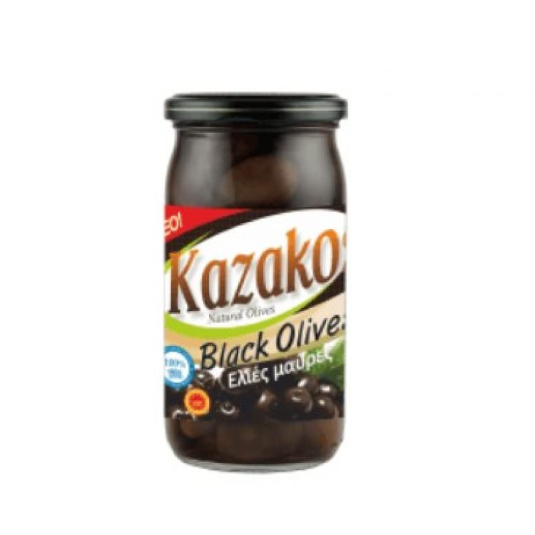 KAZAKOS BLACK OLIVES IN JAR 215g