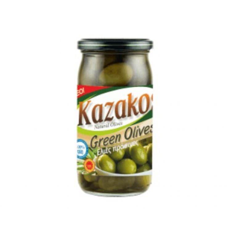 KAZAKOS GREEN OLIVES IN JAR 215g