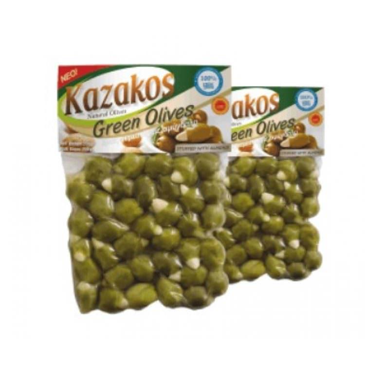 KAZAKOS GREEN OLIVES STUFFED WITH ALMOND 250g
