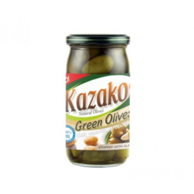 KAZAKOS GREEN OLIVES STUFFED WITH ALMOND IN JAR 215g