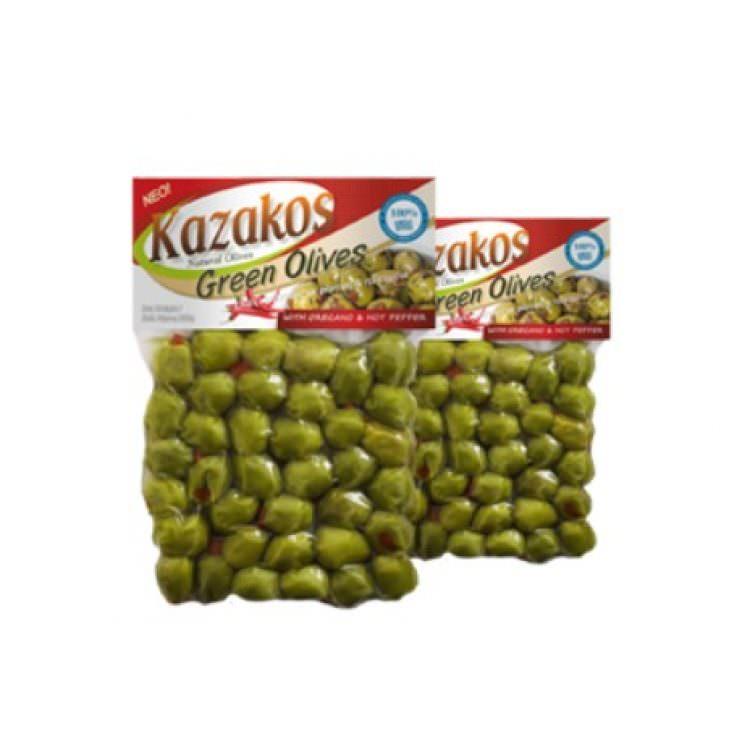 KAZAKOS GREEN OLIVES WITH OREGANO & PEPPERS 250g
