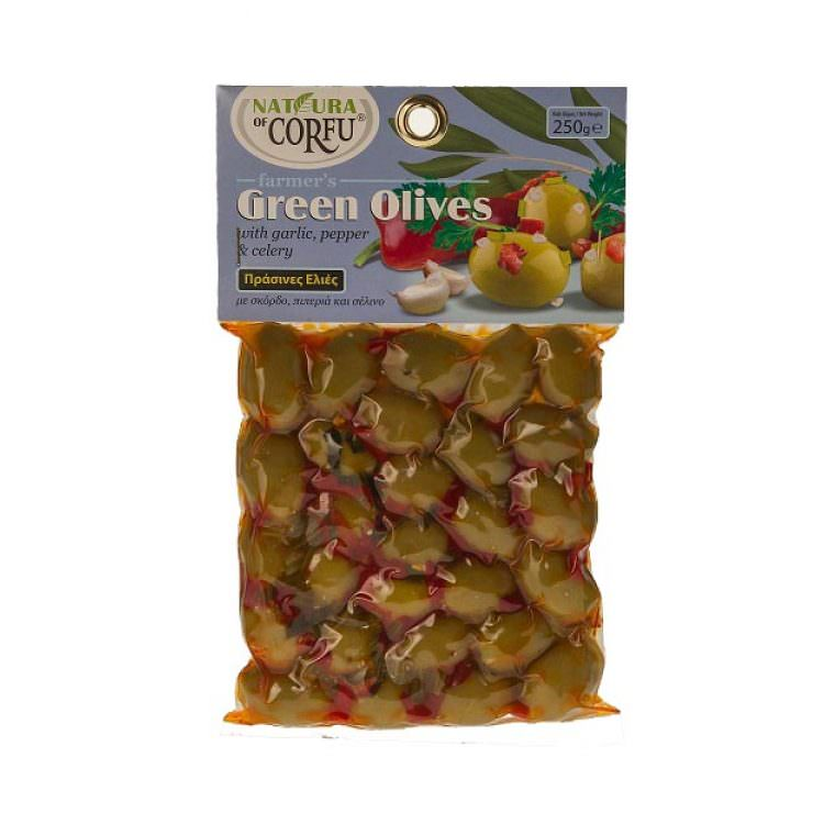 NATURA OF CORFU GREEN OLIVES WITH GARLIC PEPPER & CELERY 250g