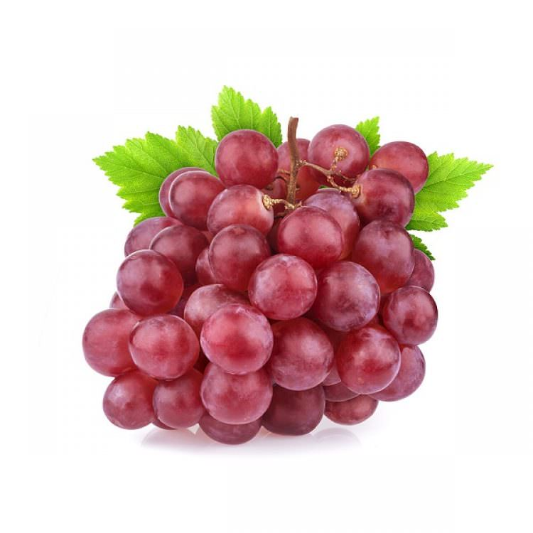 Red grape with leaves isolated on white background. Studio shot