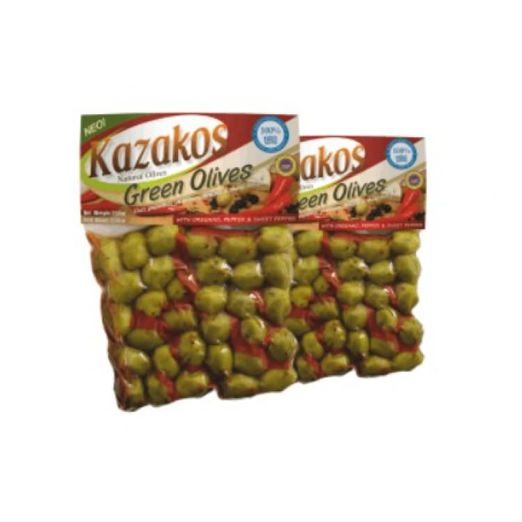 KAZAKOS GREEN OLIVES MARINATED WITH OREGANO PEPPER &S SWEET PAPRIKA 250g