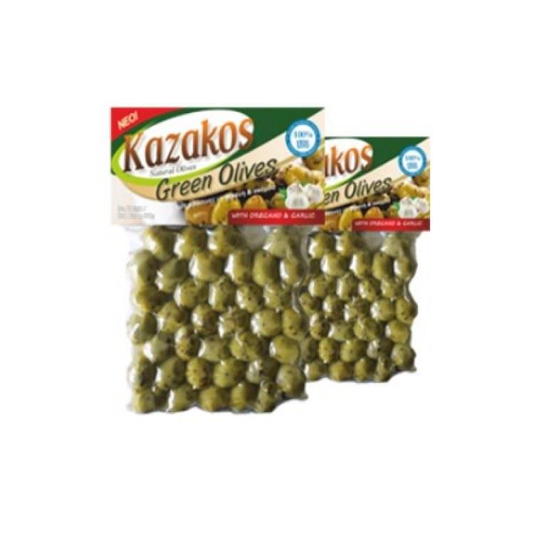 KAZAKOS GREEN OLIVES STUFFED WITH GARLIC 250g