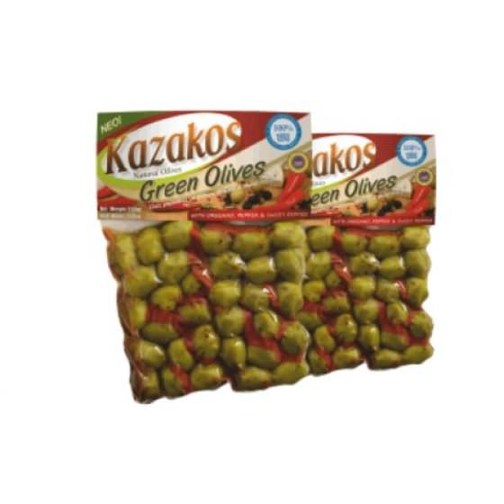 KAZAKOS GREEN OLIVES STUFFED WITH PEPPERS 250g