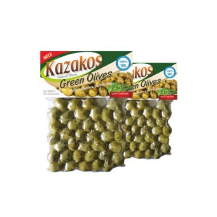 KAZAKOS GREEN OLIVES WITH HERBS 250g