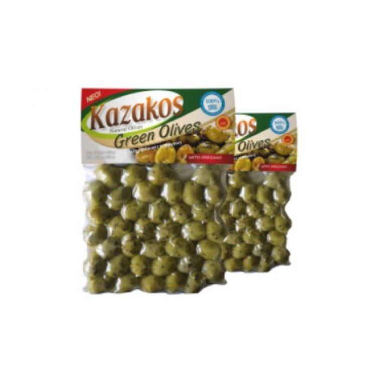 KAZAKOS GREEN OLIVES WITH OREGANO 250g