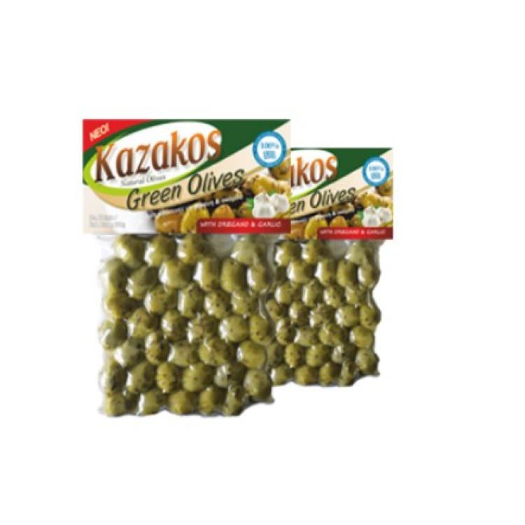 KAZAKOS GREEN OLIVES WITH OREGANO & GARLIC 250g