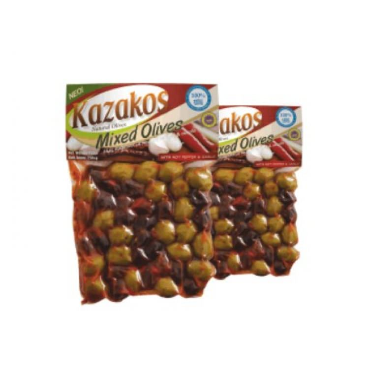 KAZAKOS MIXED OLIVES WITH CHILLI PEPPER & GARLIC 250g