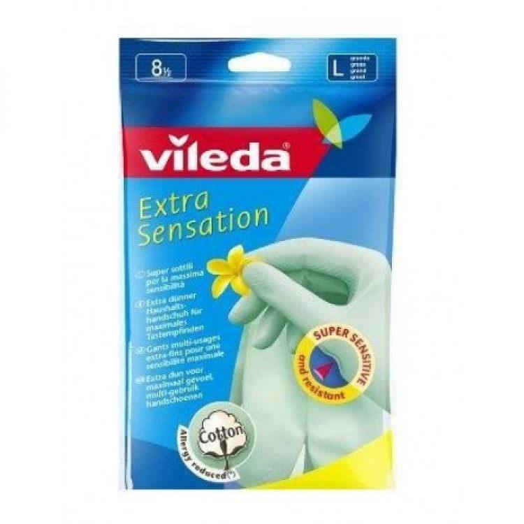 VILEDA LATEX GLOVES EXTRA SENSATION SIZE (LARGE 9)